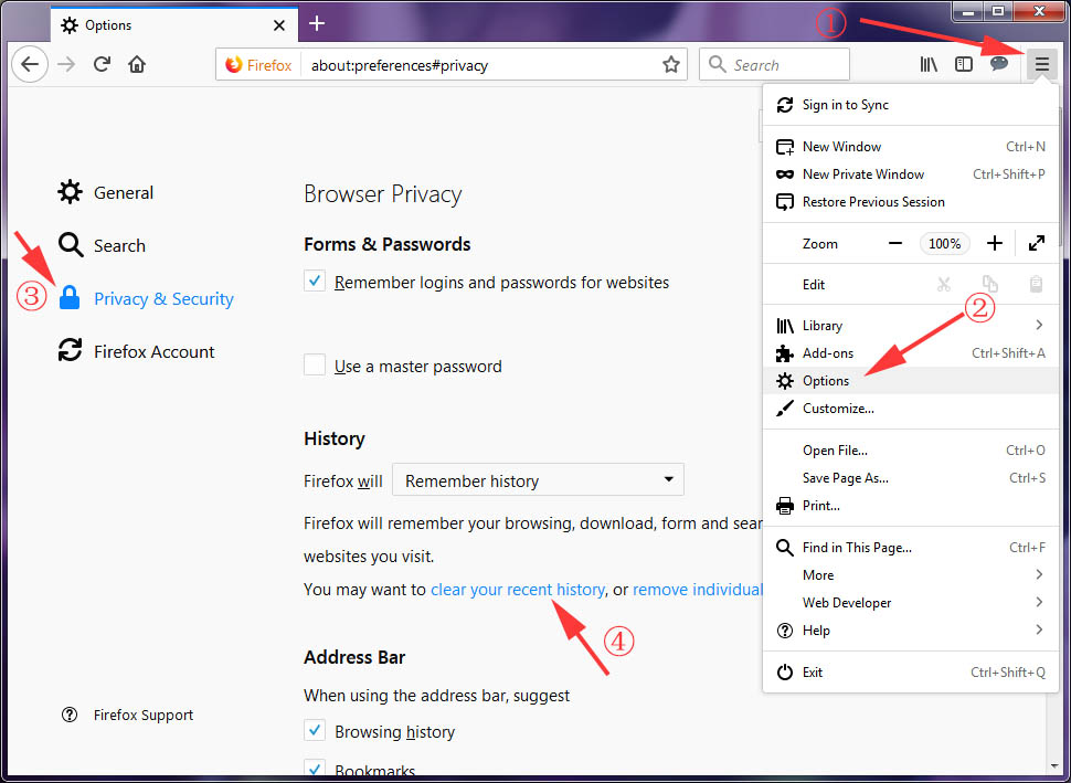 Clear History Cache & Cookies in Firefox