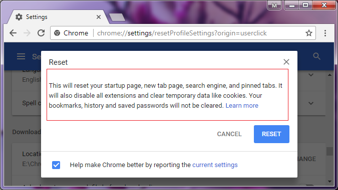 how to Reset Chrome