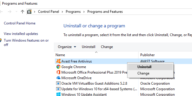 Uninstall Antivirus in Control Panel