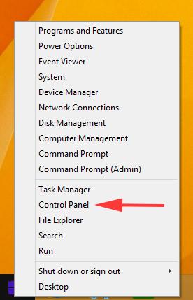 Open Control Panel in Windows 8.1