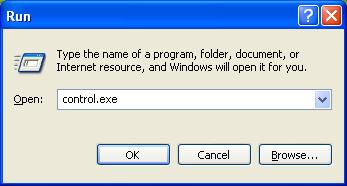 Open Control Panel in Windows XP
