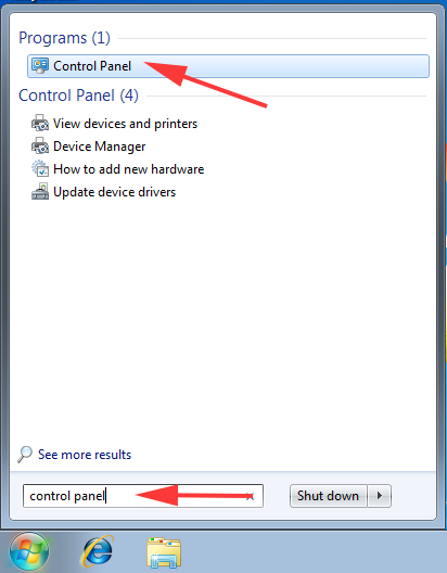Open Control Panel in Windows 7