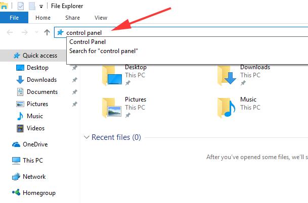 openControl Panel from Windows Explorer
