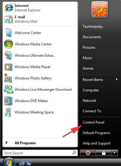 Open Control Panel in Windows Vista