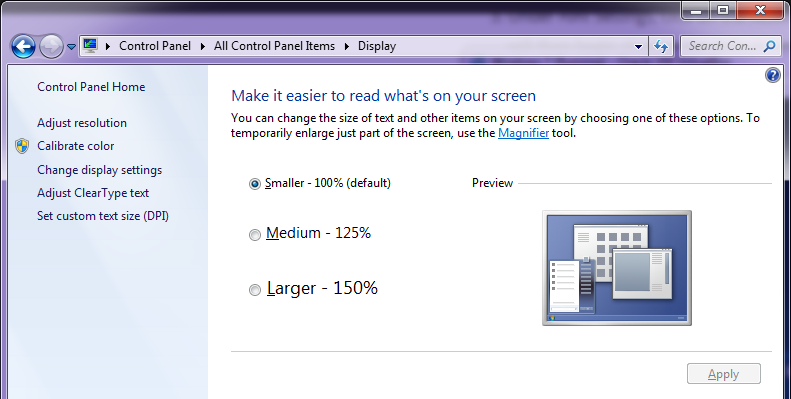 Fonts size in Windows 7