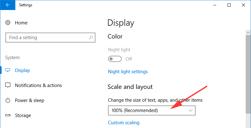 Fonts size in Windows 10