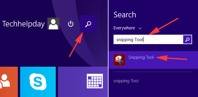 open snipping tool in windows 8.1