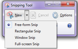 open snipping tool in windows 7